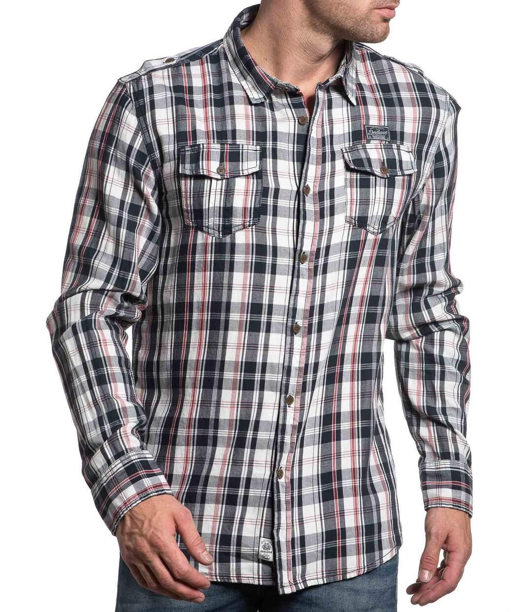 Chemise stylé à carreaux navy et rouge pour homme