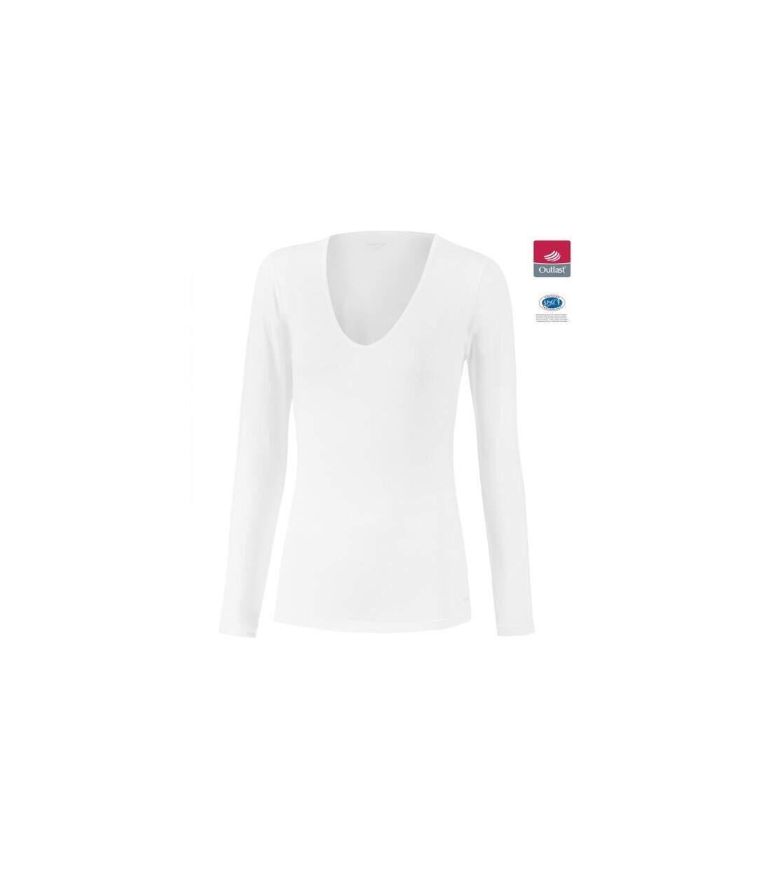 IMPETUS T-shirt Manches longues Col V Femme Coton Viscose INNOVATION Blanc