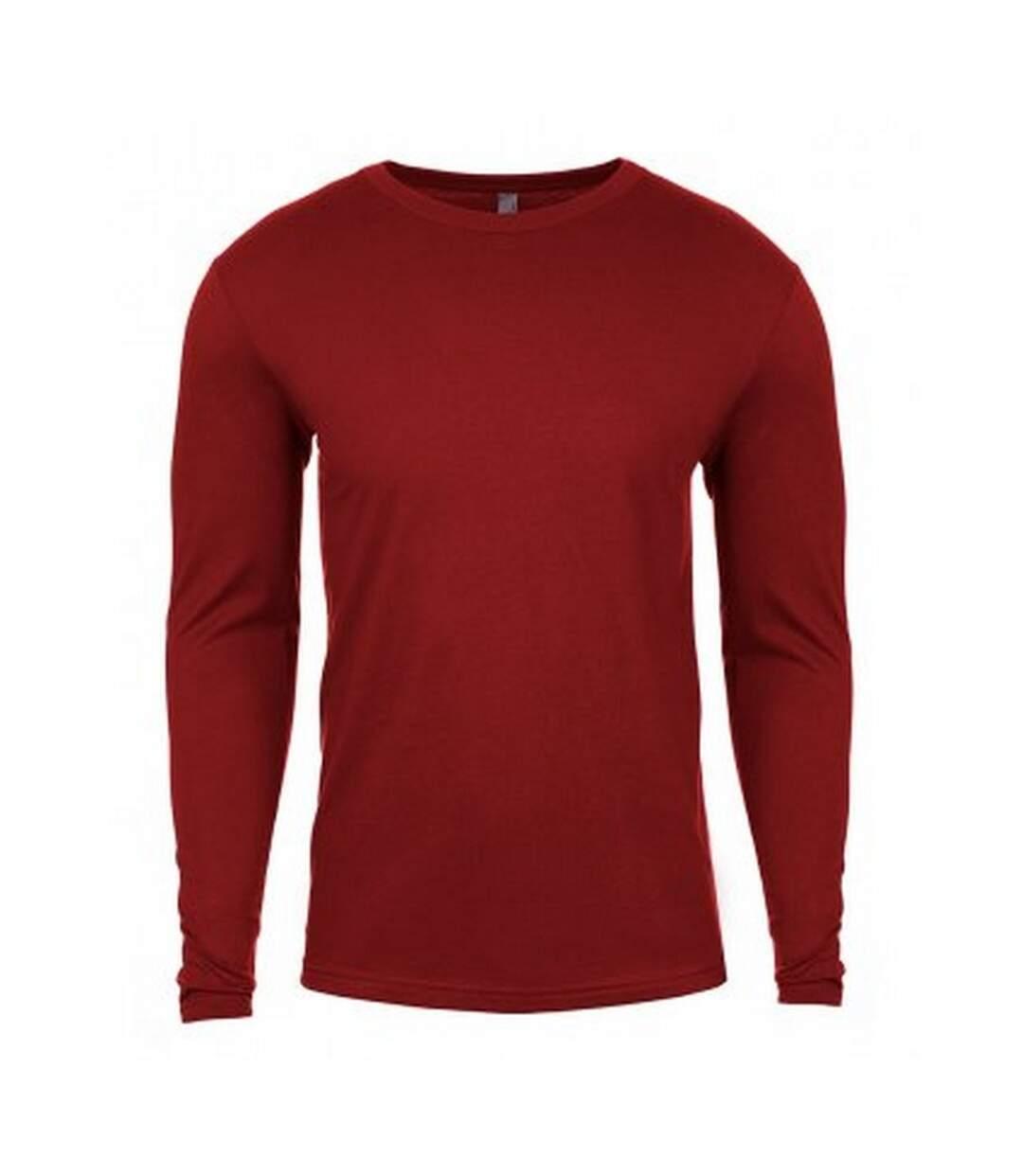 Next Level Mens Long-Sleeved T-Shirt (Dark Red) - UTPC4149