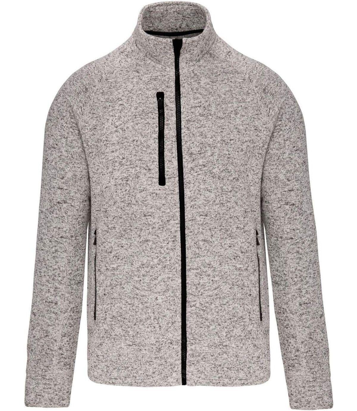 Veste chinée ouverture zippée - homme - K9106 - gris clair