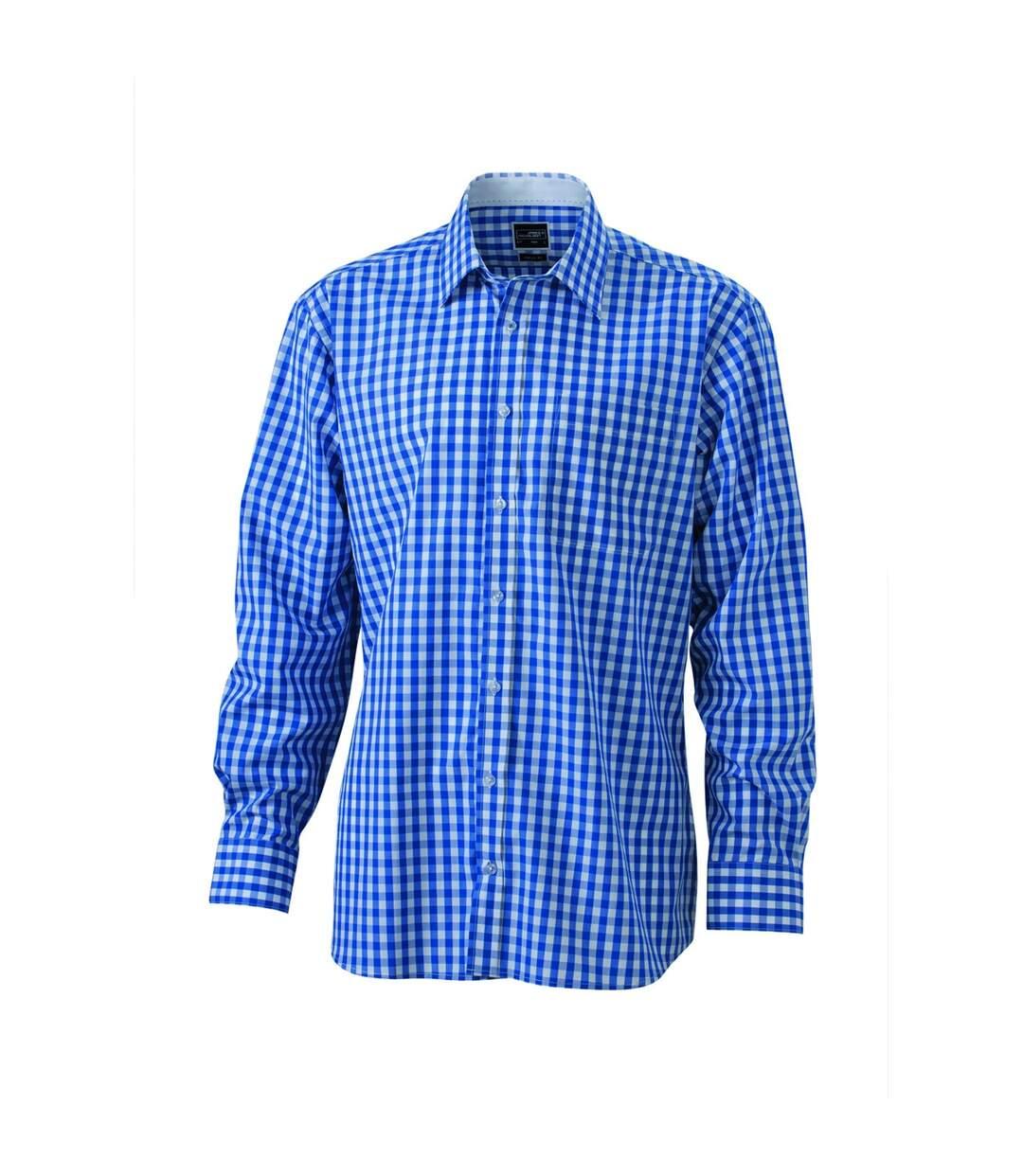 chemise manches longues carreaux vichy HOMME JN617 - bleu roi