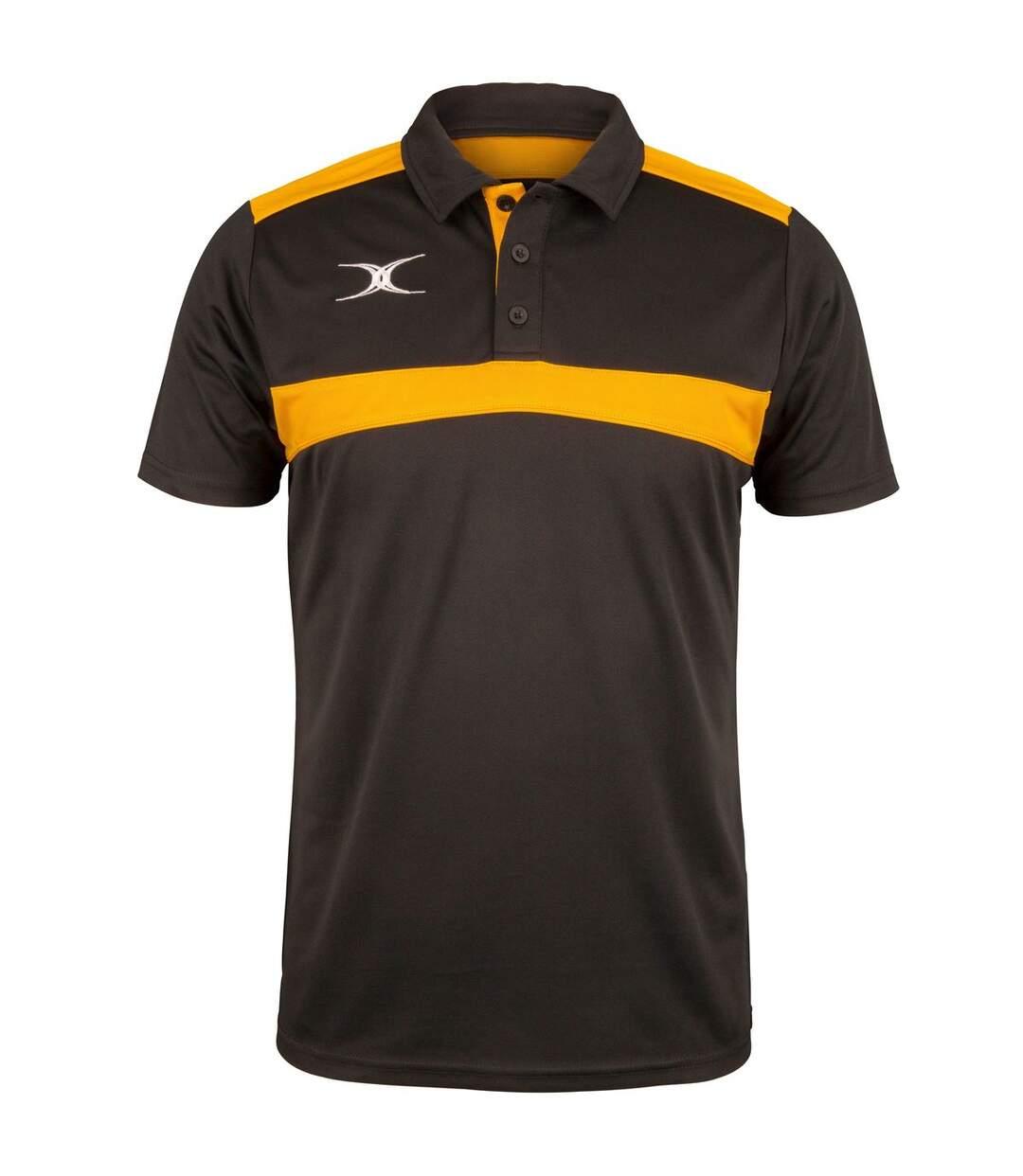 Polo de rugby manches courtes homme - GI017 - noir et jaune