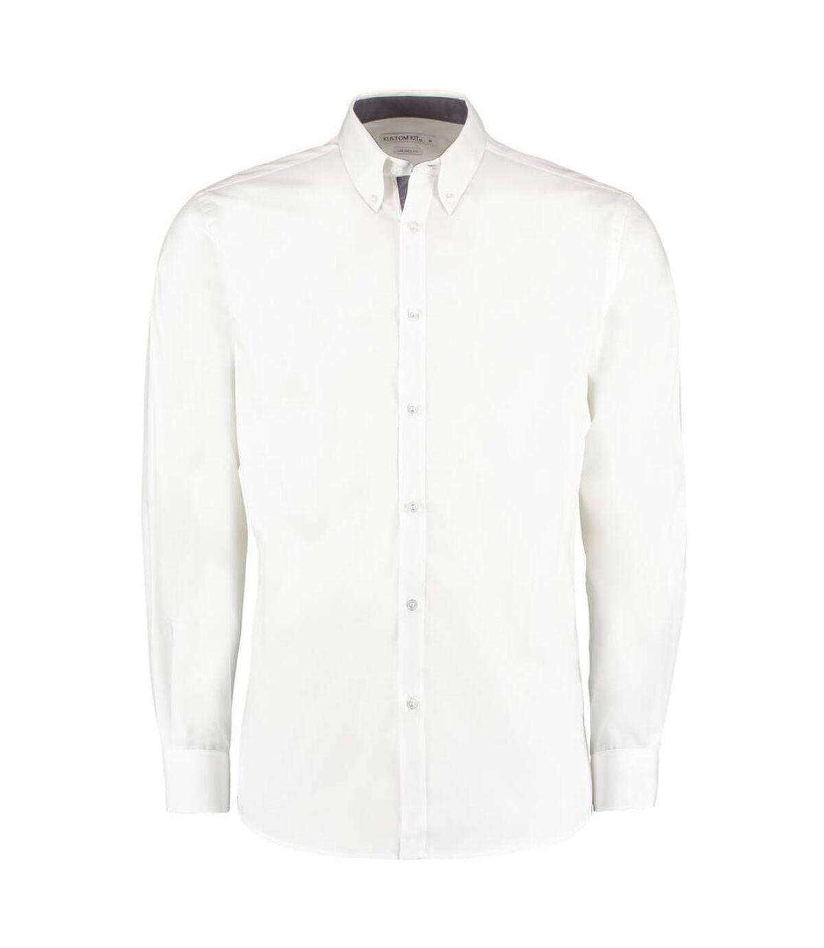 Kustom Kit Mens Contrast Premium Oxford Shirt (White/Navy) - UTBC2682
