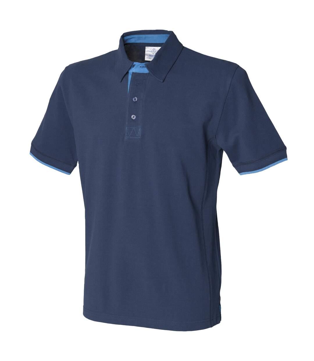 Front Row Mens Contrast Pique Polo Shirt (Navy/Marine) - UTRW486