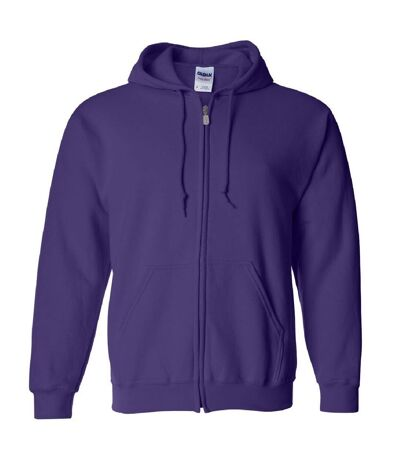 Gildan Heavy Blend Unisex Adult Full Zip Hooded Sweatshirt Top (Purple) - UTBC471