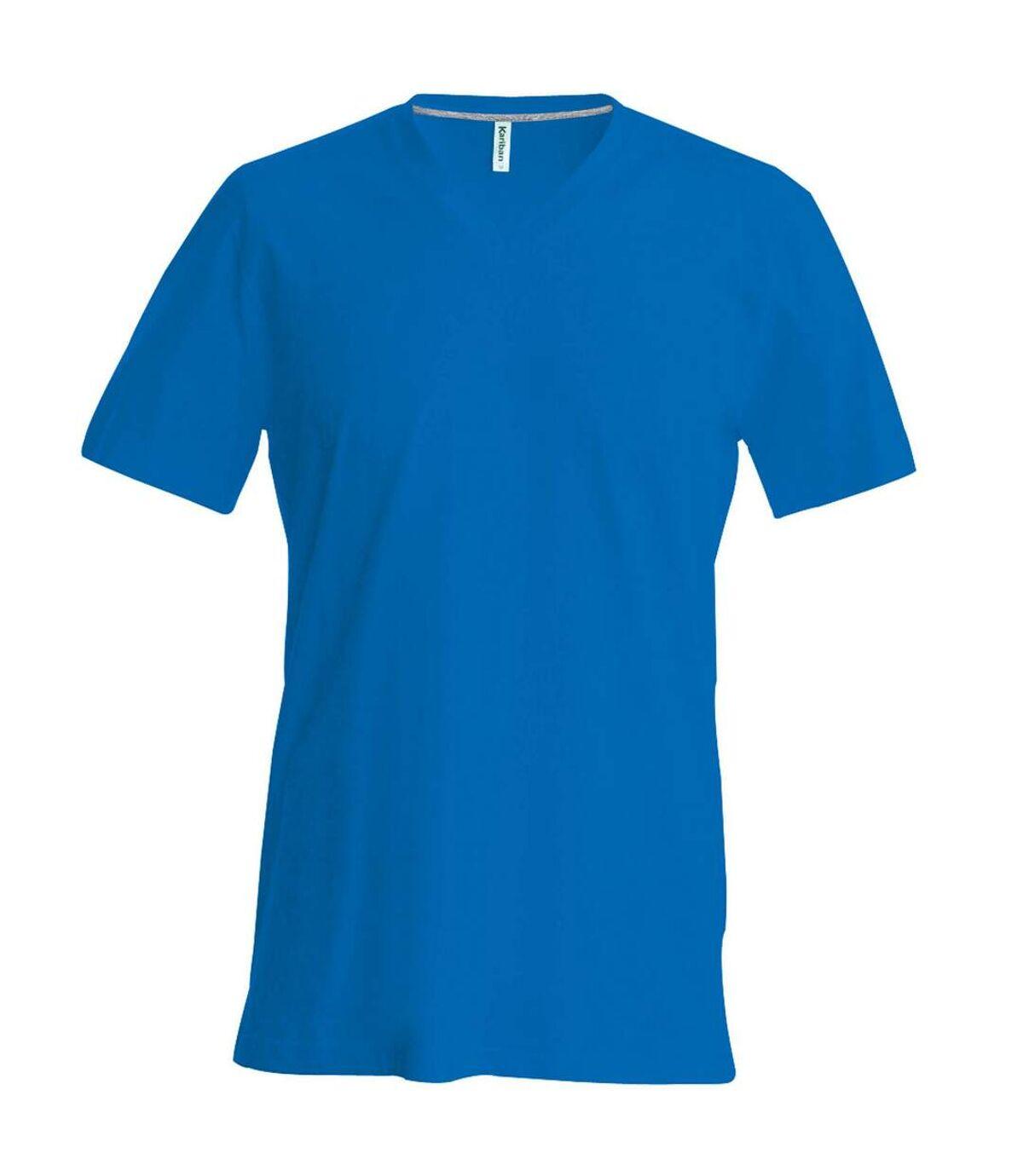 Kariban Mens Short Sleeve V Neck Slim Fit T-Shirt (Royal Blue) - UTRW707