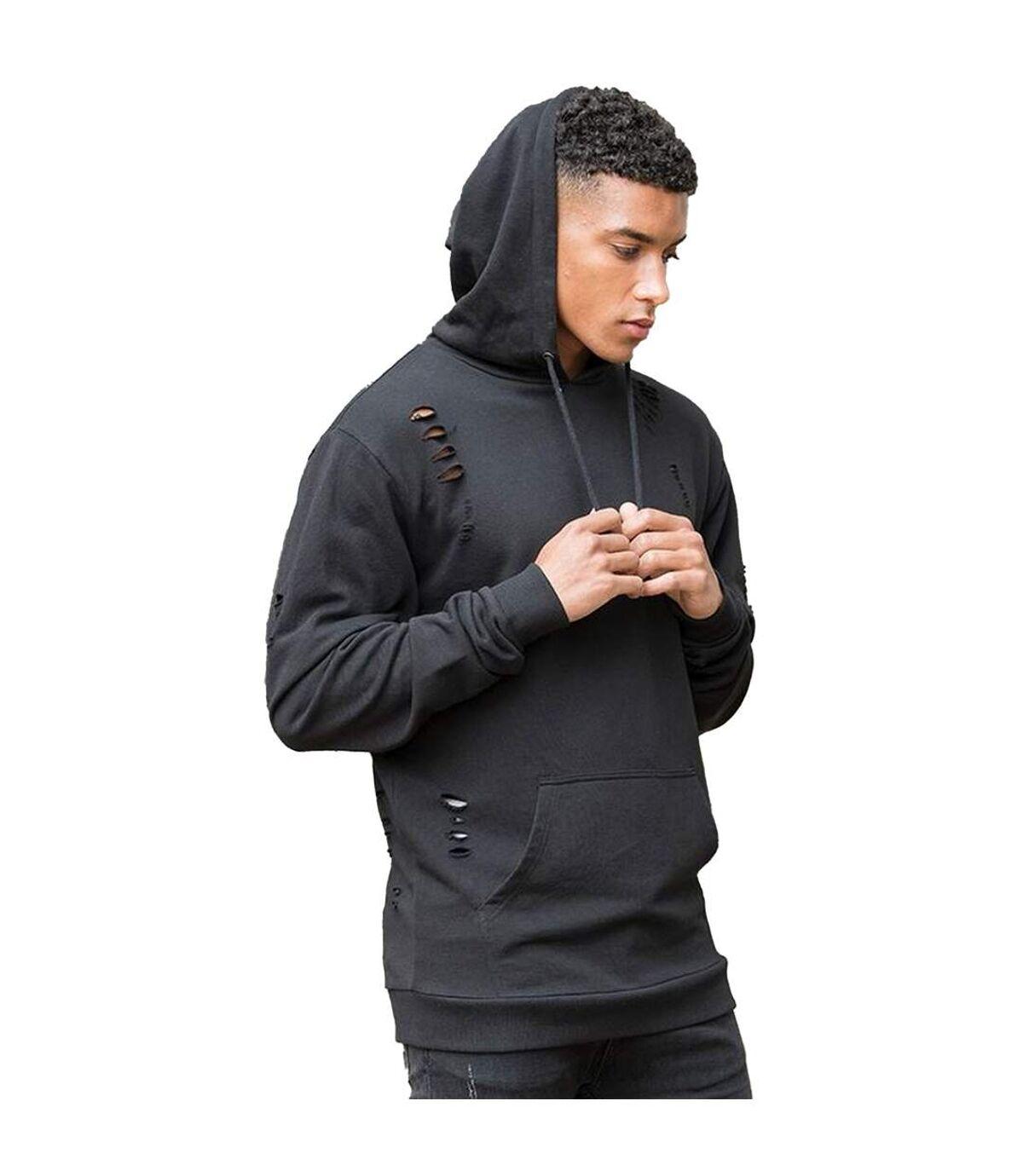 AWDis Just Hoods Mens Distressed Hoodie (Jet Black) - UTPC3446