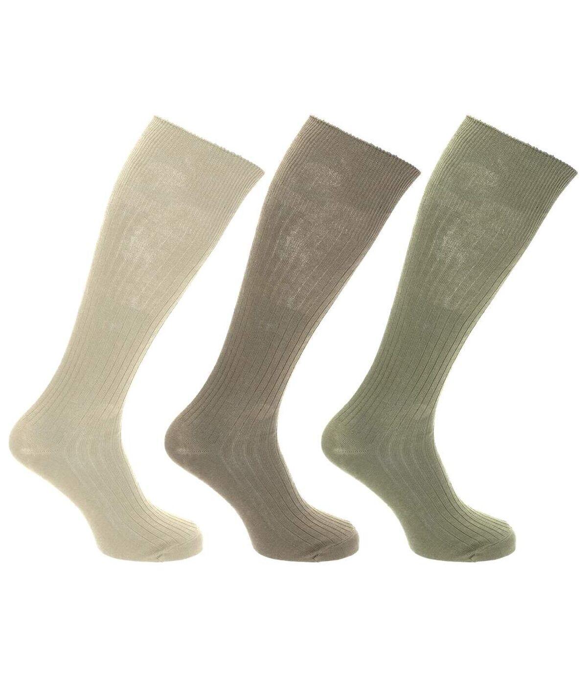 Mens 100% Cotton Ribbed Knee High Socks (Pack Of 3) (Cream/Light Grey/Khaki) - UTMB489