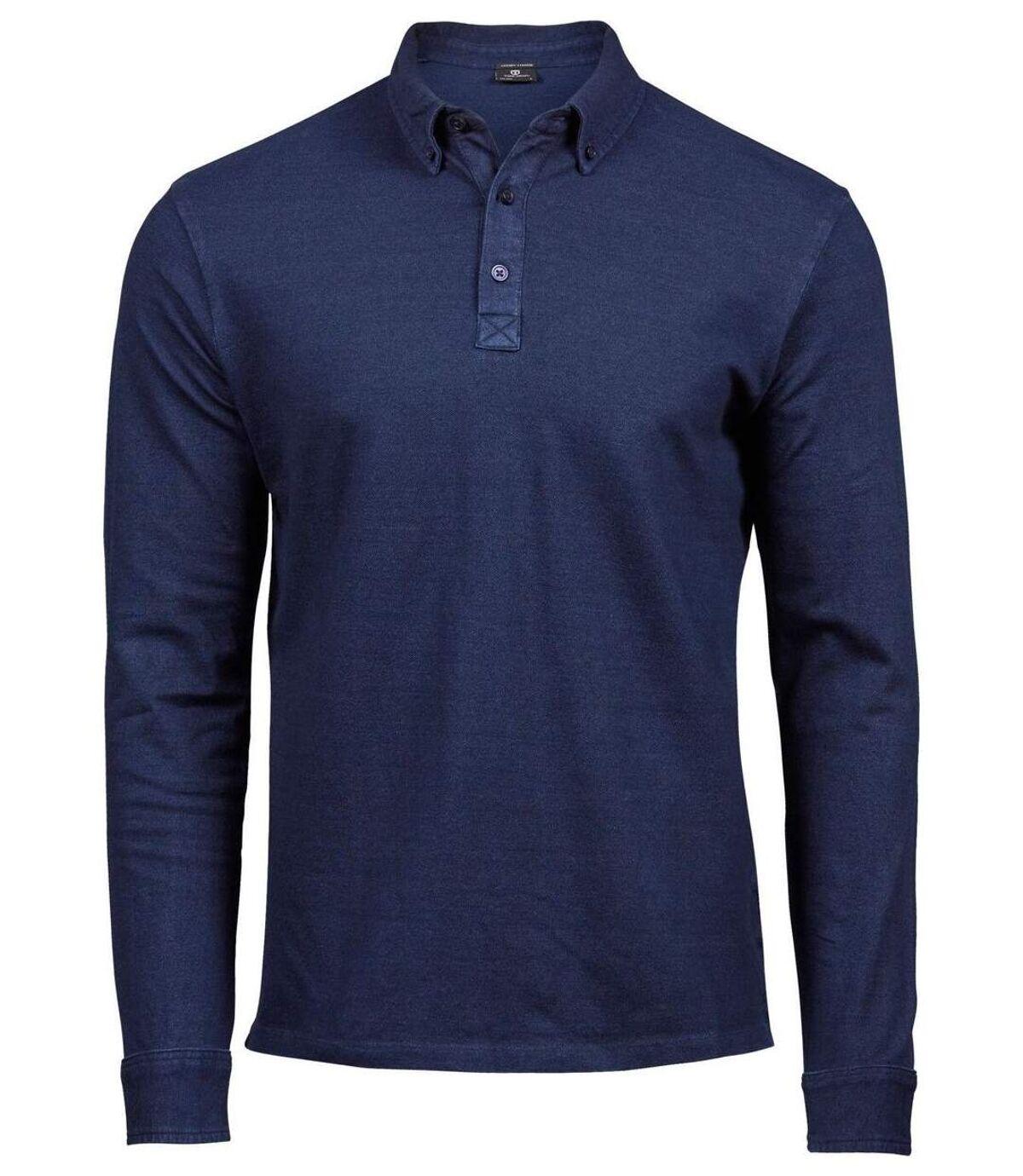 Polo homme luxury stretch - 1412 - bleu denim - manches longues