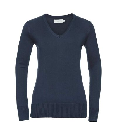 Russell Collection Ladies/Womens V-Neck Knitted Pullover Sweatshirt (French Navy) - UTBC1011