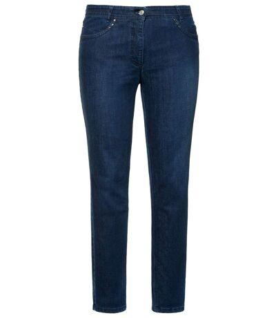 ULLA POPKEN CoolMax Jeans Sarah taille élastiquée intérieure slim blanchi NOUVEAU