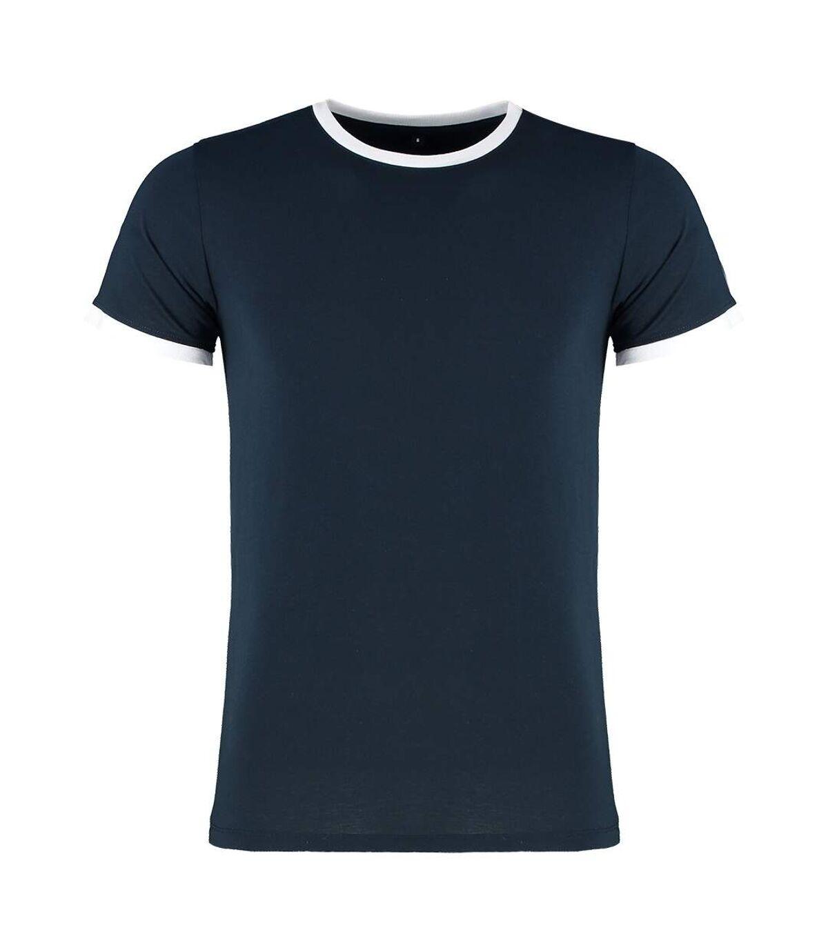 Kustom Kit Mens Fashion Fit Ringer T-Shirt (Navy/White) - UTPC3837