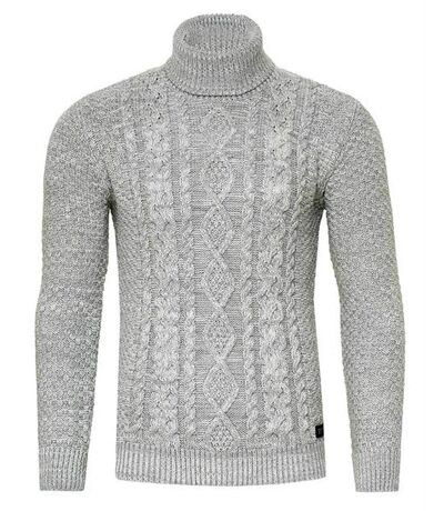 Pull col montant gris maille tricot Homme