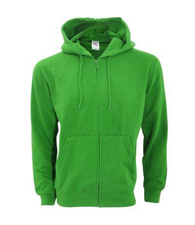SG Mens Plain Full Zip Hooded Sweatshirt (Green) - UTBC1075