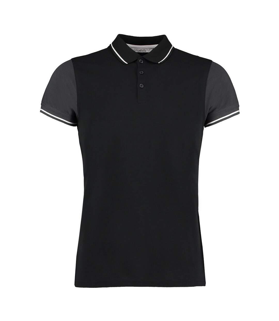 Kustom Kit Mens Two Tone Contrast Tipped Polo Shirt (Black/Graphite/White) - UTBC3728