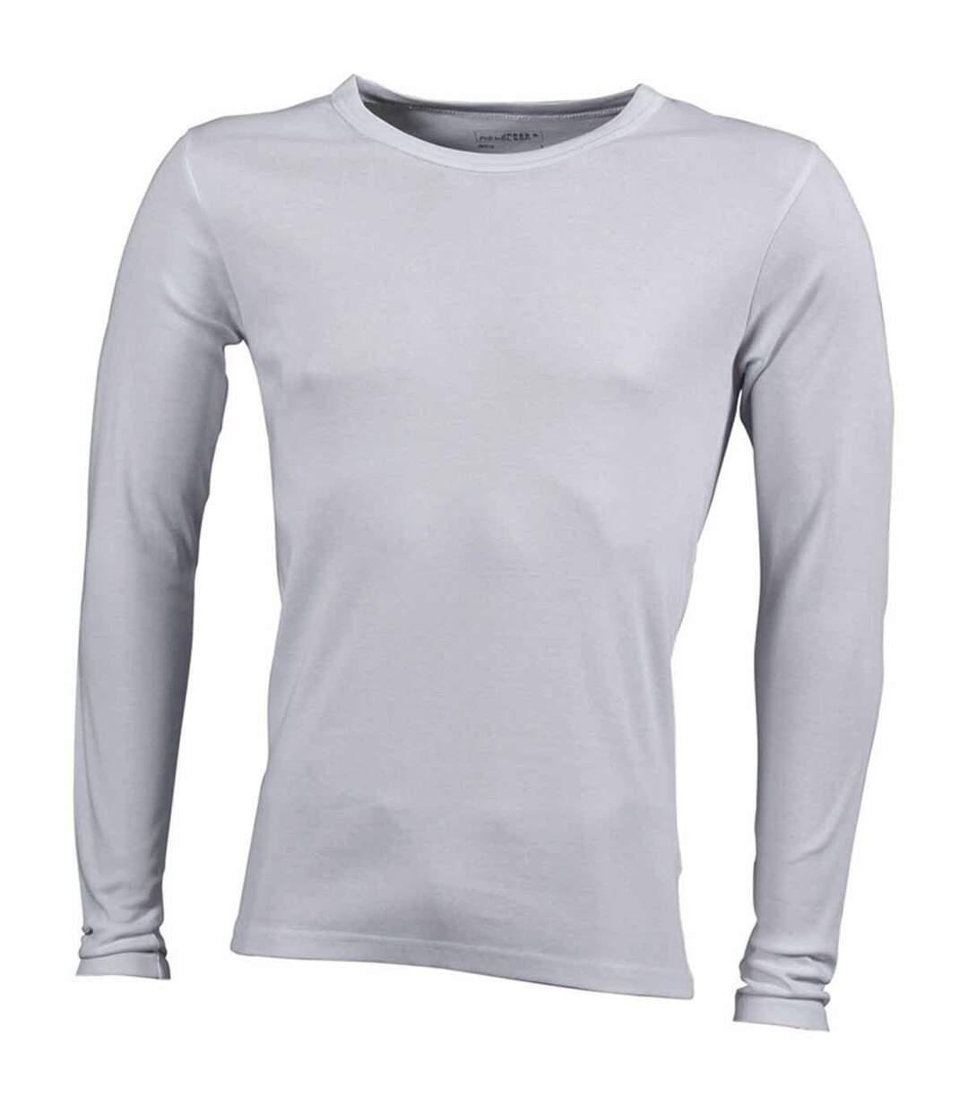 T-shirt homme manches longues - JN916 - blanc - coton extensible