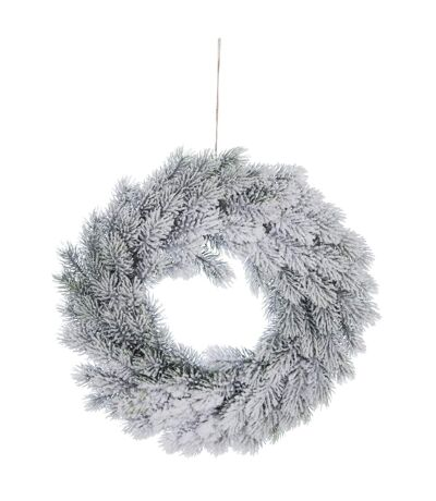 Couronne de Noël enneigée Comptoir de Noël - Diam. 40 cm - Blanc