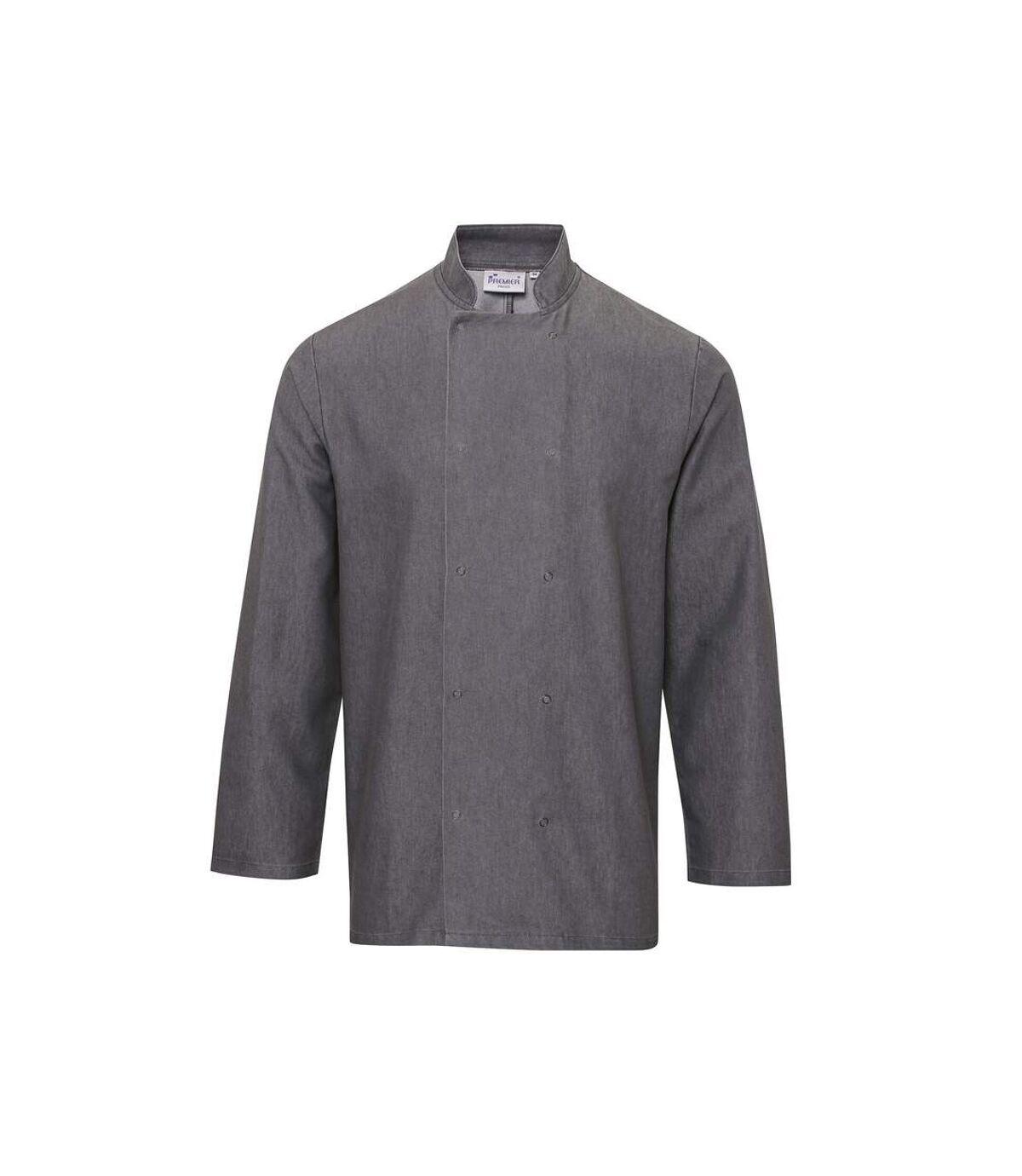 Premier Unisex Denim Chefs Jacket (Pack of 2) (Grey Denim) - UTRW6831