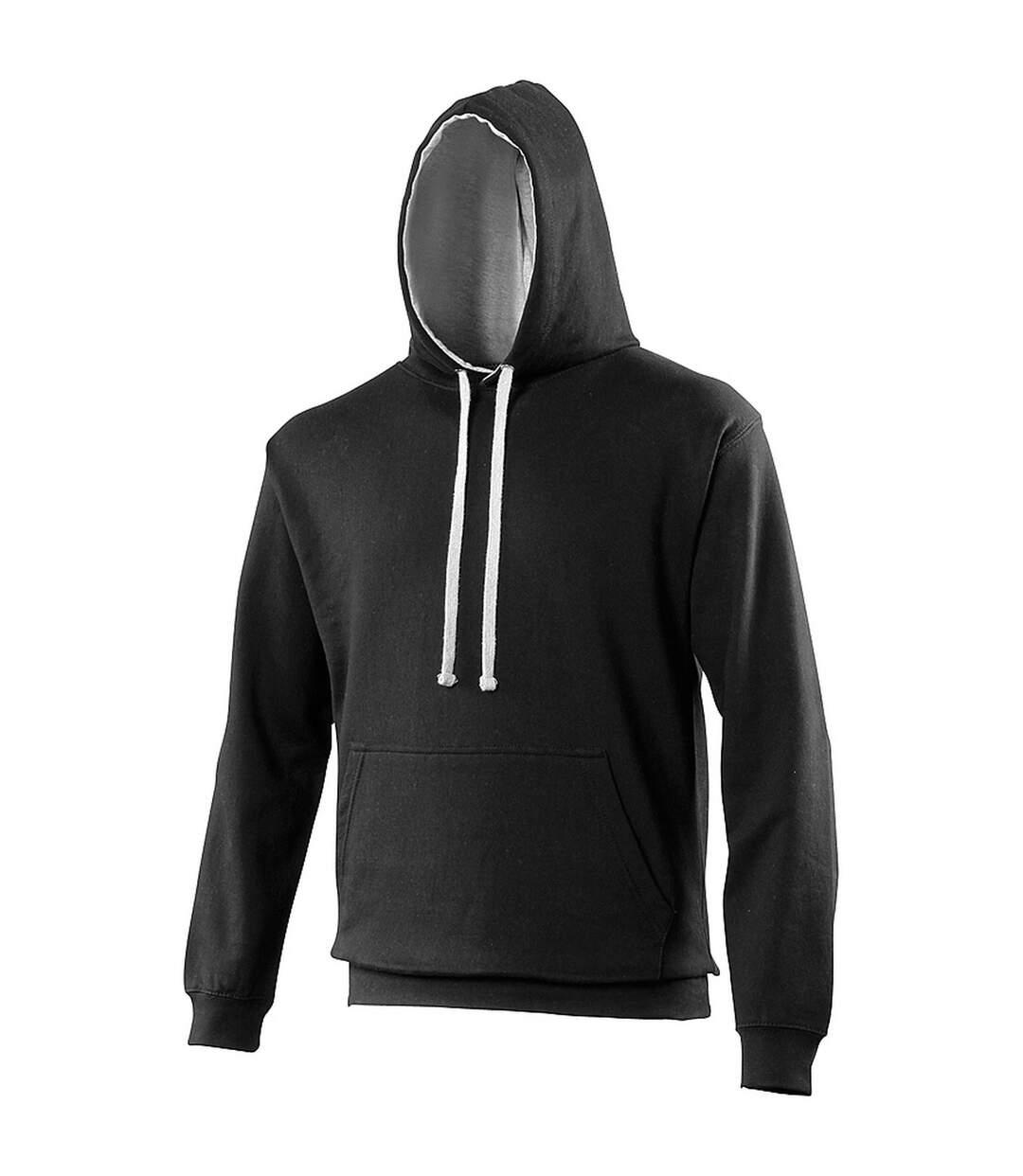 Awdis Varsity Hooded Sweatshirt / Hoodie (Arctic White / Hot Pink) - UTRW165