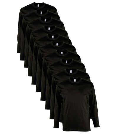 lot 10 T-shirts manches longues HOMME - noir