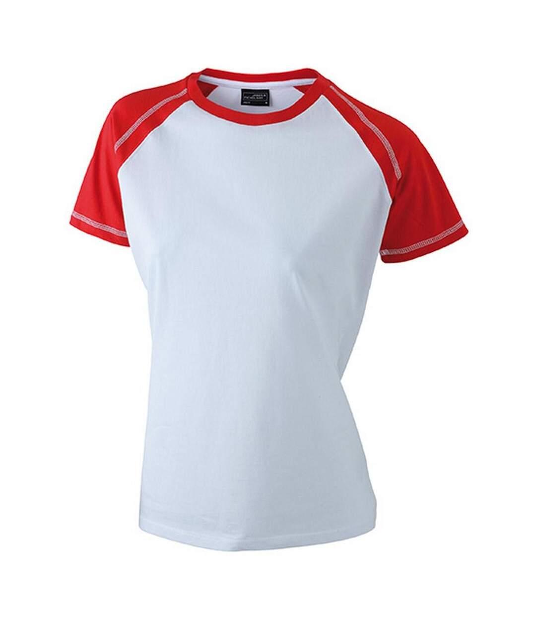 James And Nicholson - T-Shirt Bicolore - Femme (Blanc / rouge) - UTFU366