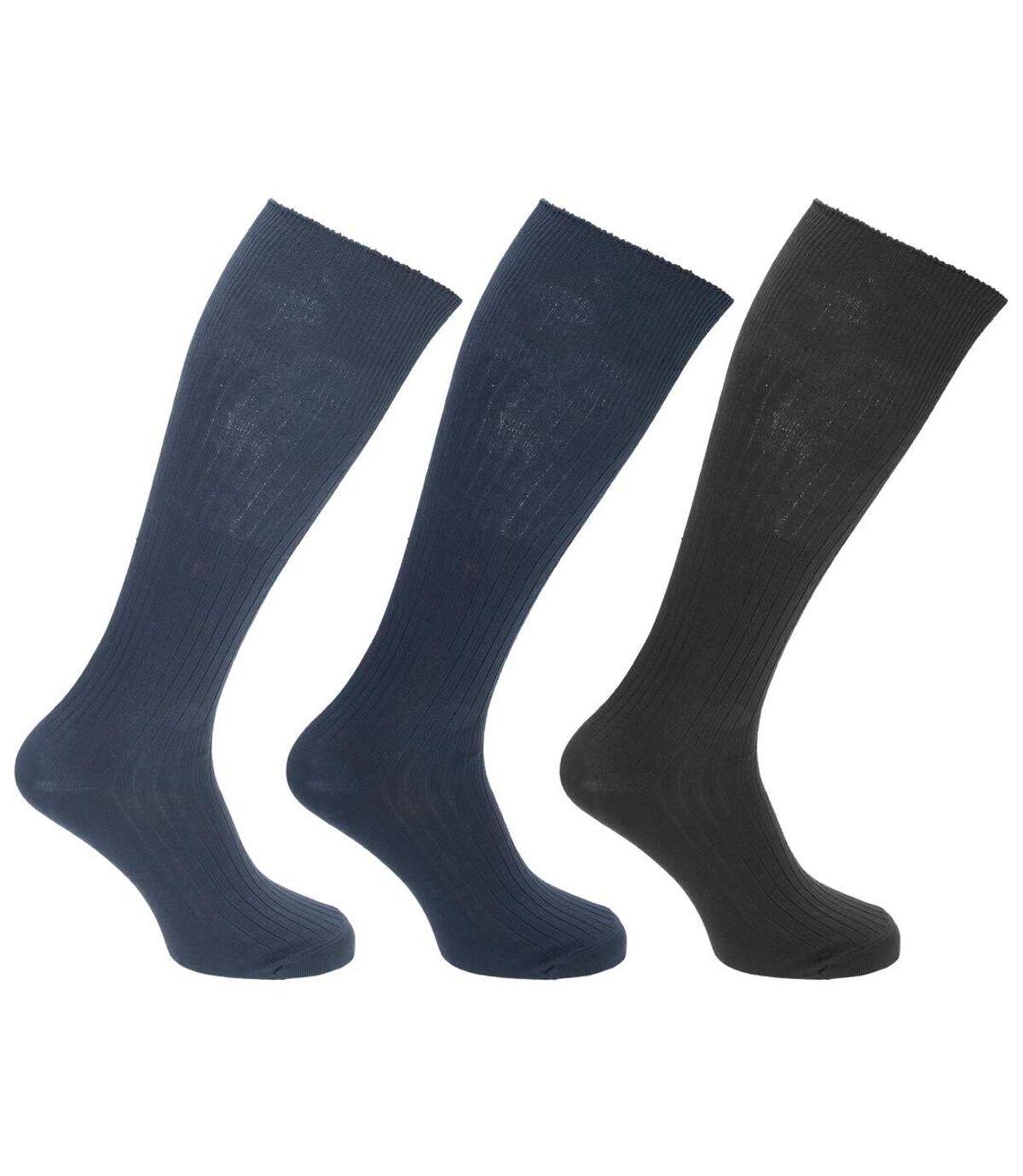 Mens 100% Cotton Ribbed Knee High Socks (Pack Of 3) (Blue/Black/Navy) - UTMB489