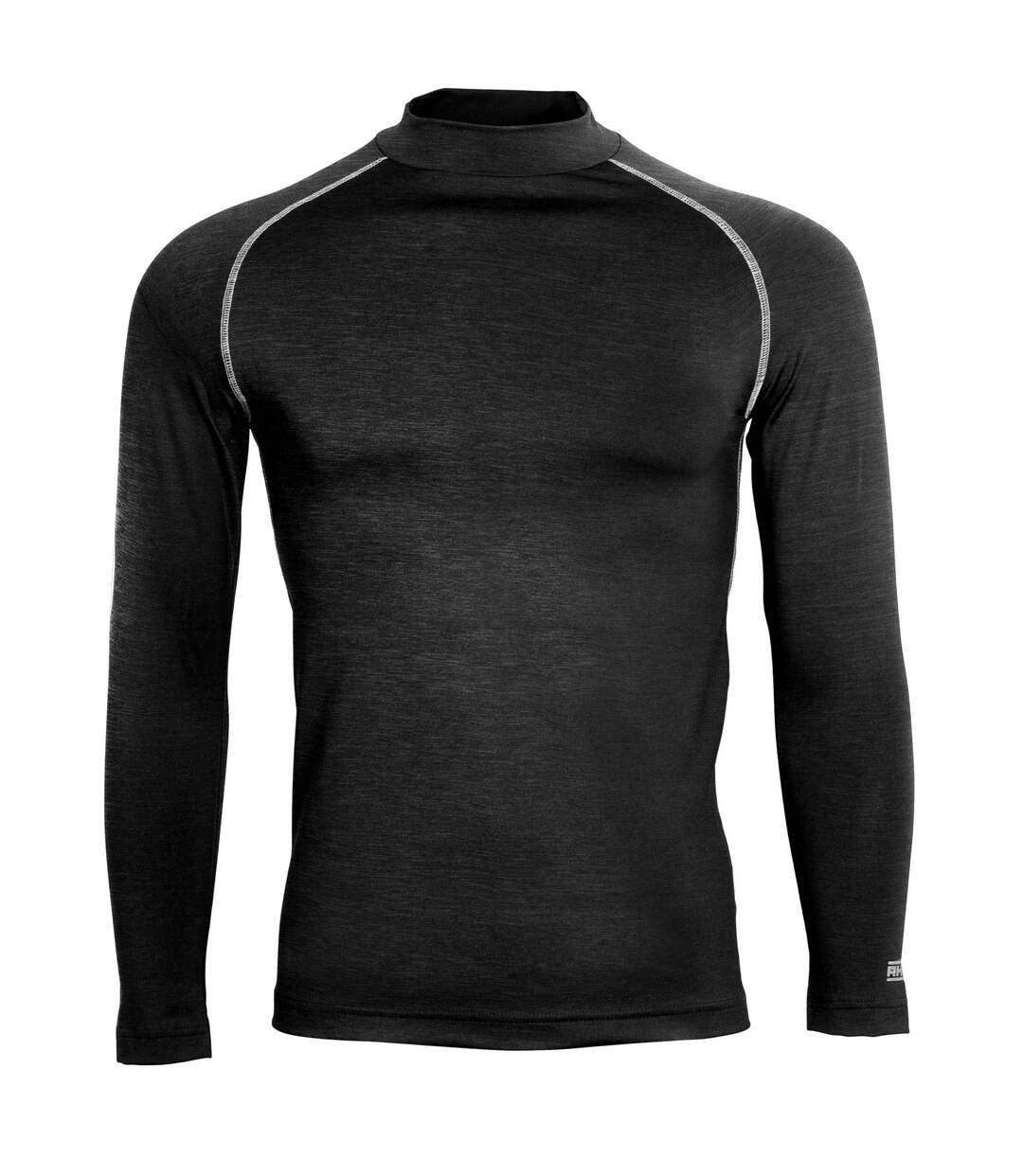 Rhino Mens Thermal Underwear Long Sleeve Base Layer Vest Top (Black Heather) - UTRW1276