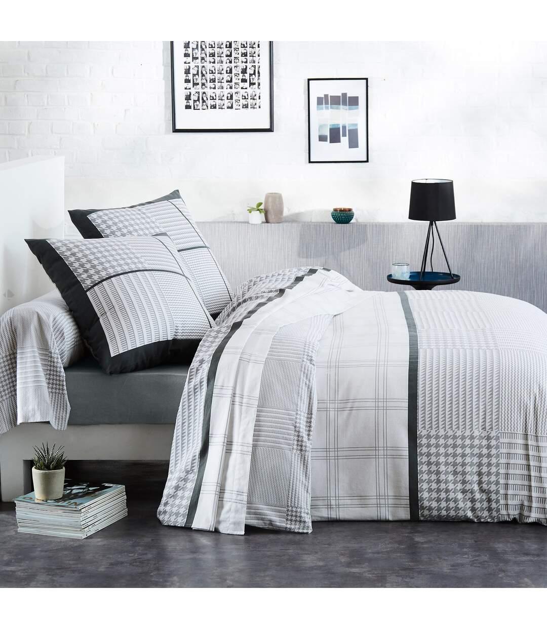 Parure de lit 140x200 cm flanelle de coton DANDY gris 2 pièces