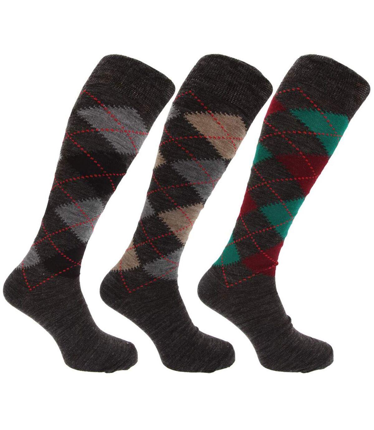 Mens Traditional Argyle Pattern Long Length Lambs Wool Blend Socks (Pack Of 3) (Shades of Grey) - UTMB277
