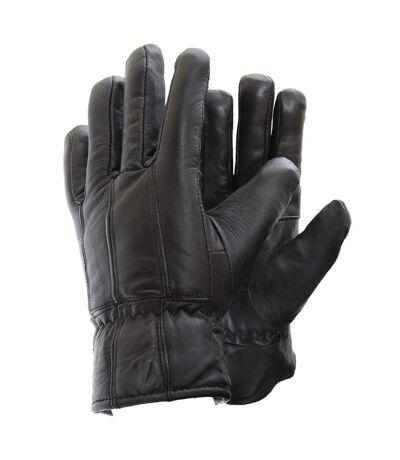 Gants en cuir véritable pour homme (Noir) - UTGL103