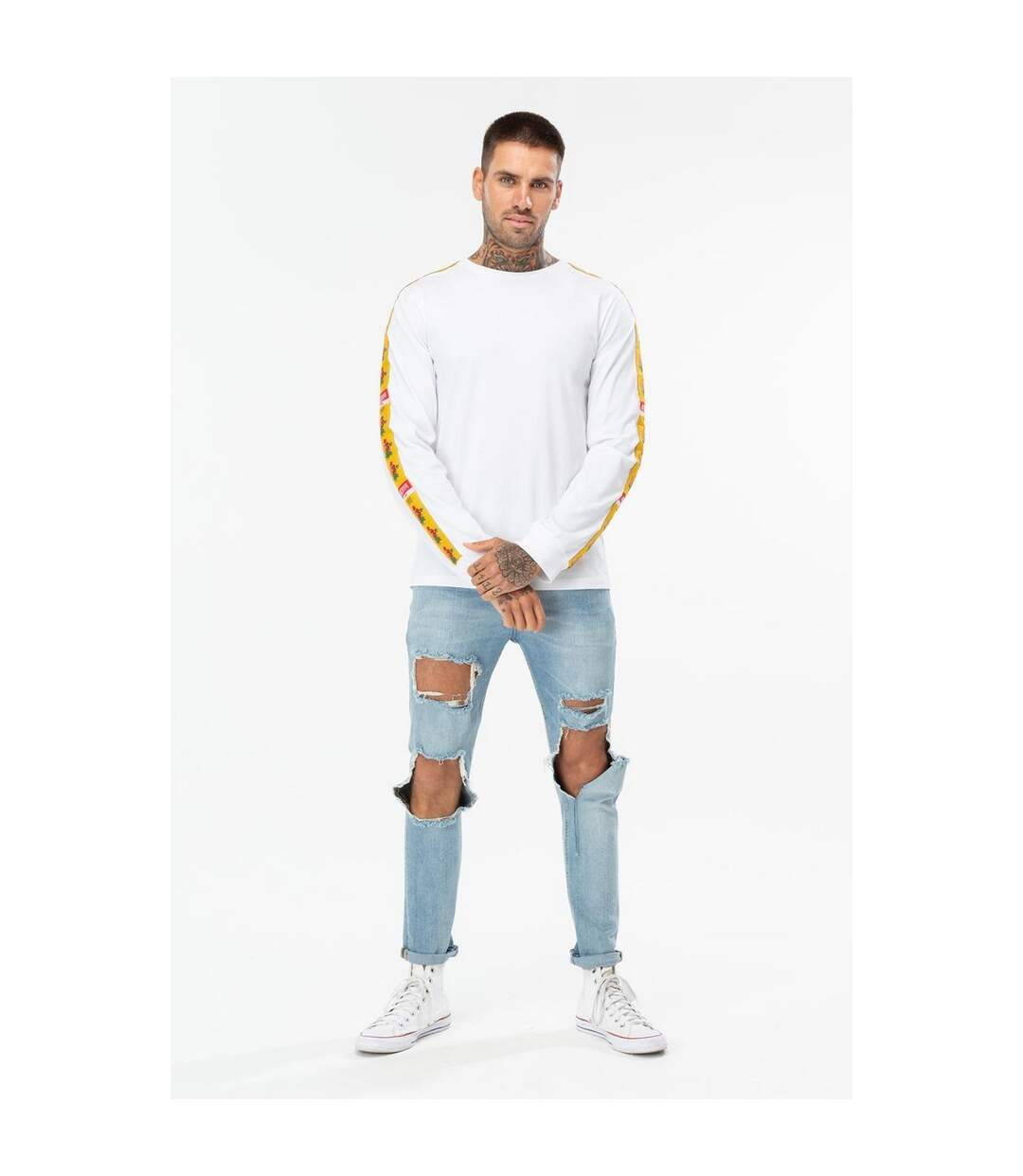 Hype Mens Justhype Floral 93 Long Sleeve T-Shirt (White/Yellow) - UTHY1111