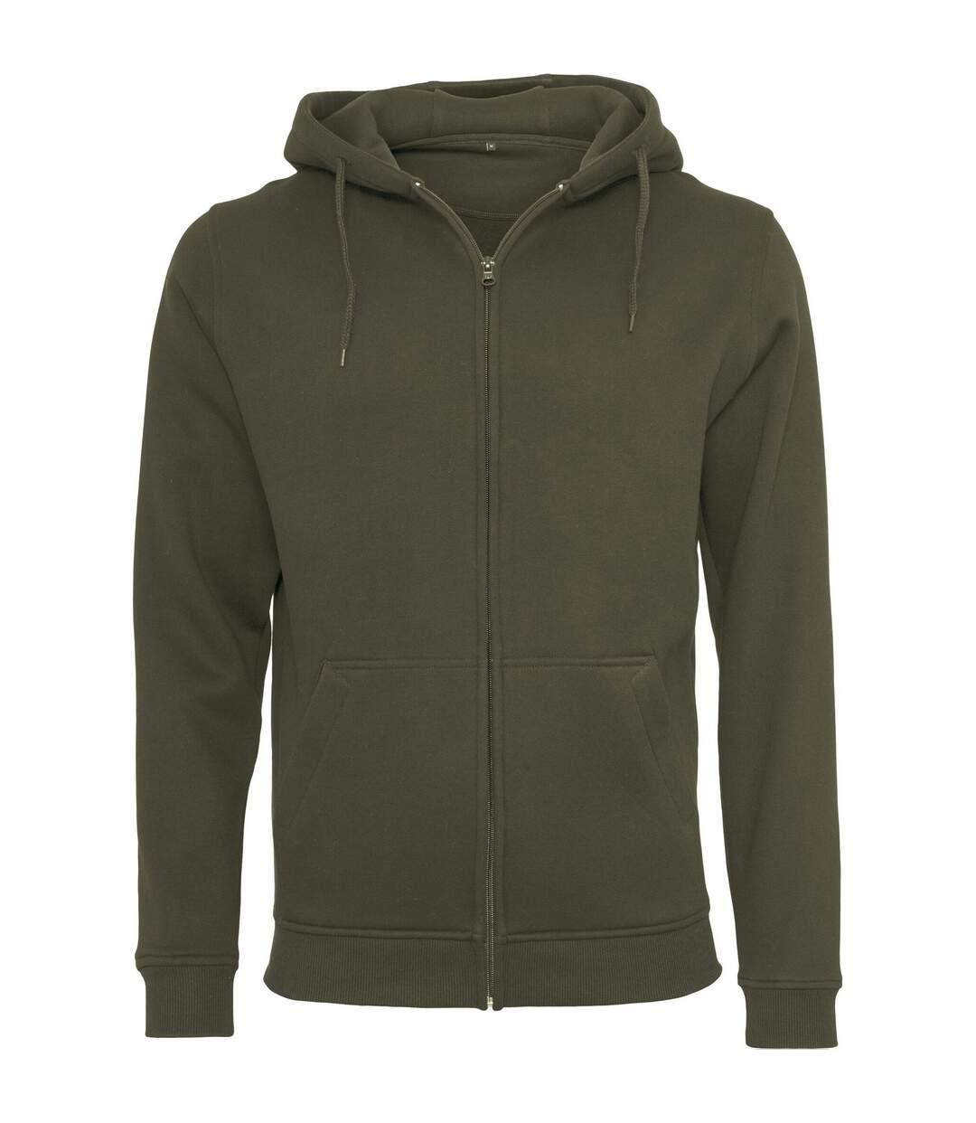 Build Your Brand Mens Heavy Zip Up Hoodie (Black) - UTRW5680