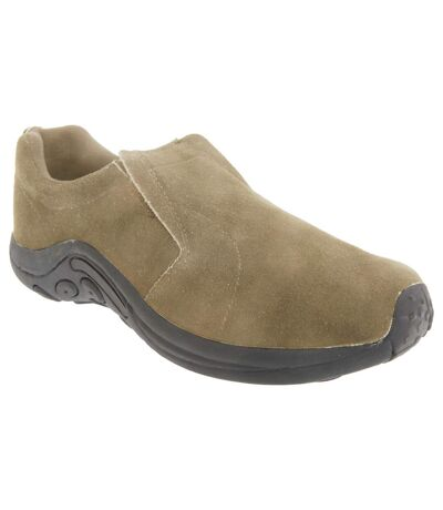 PDQ Adults Unisex Real Suede Ryno Slip-On Casual Trainers (Taupe) - UTDF140