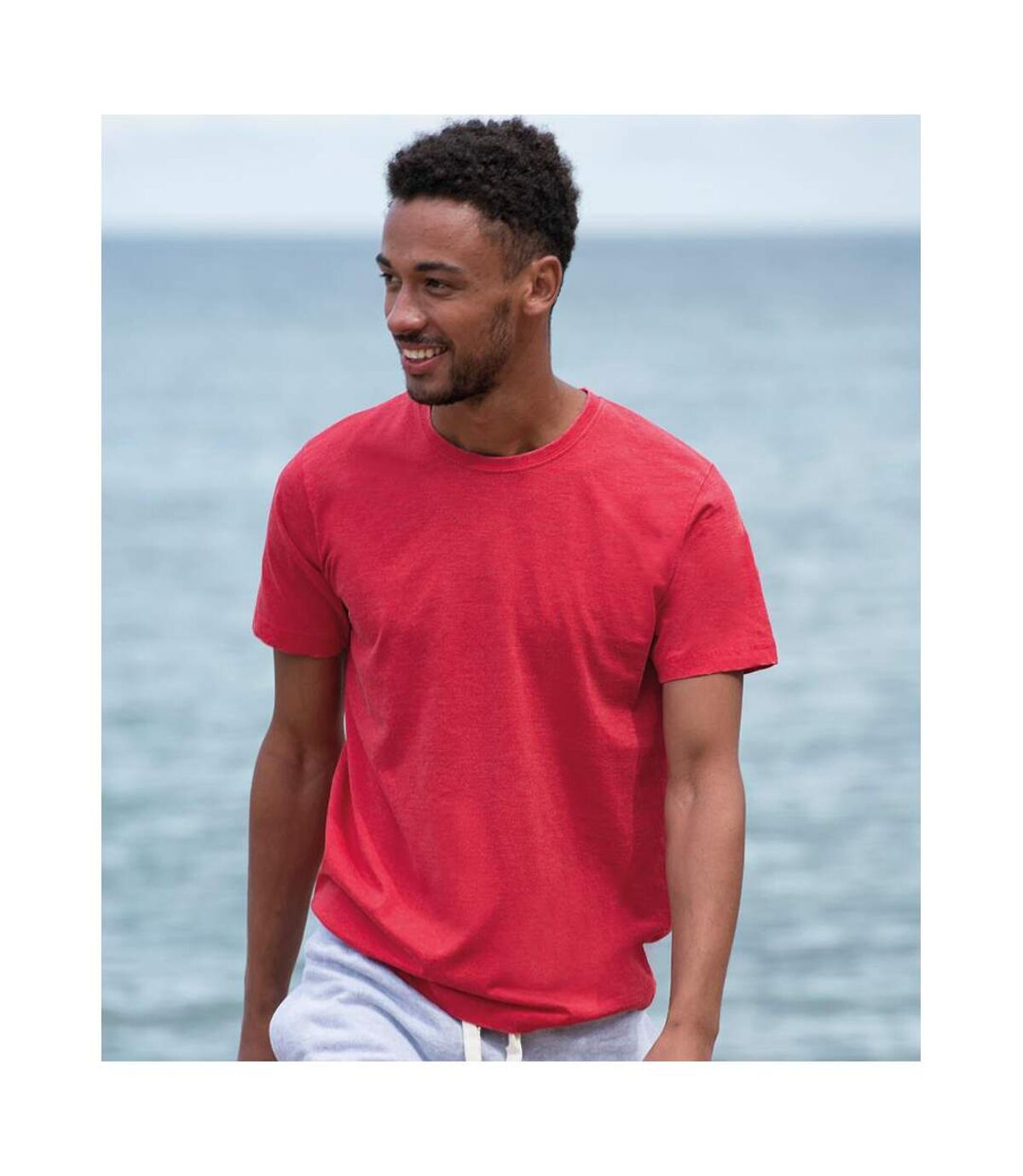 AWDis Mens Washed T Shirt (Washed Fire Red) - UTPC2899