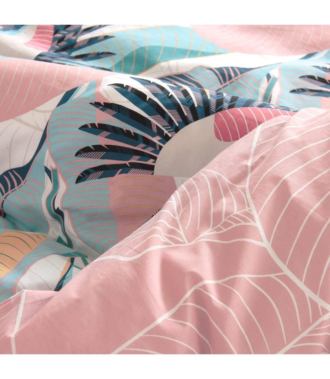 Parure de lit 260x240 cm 100% coton bio GRUE rose Pêche 3 pièces