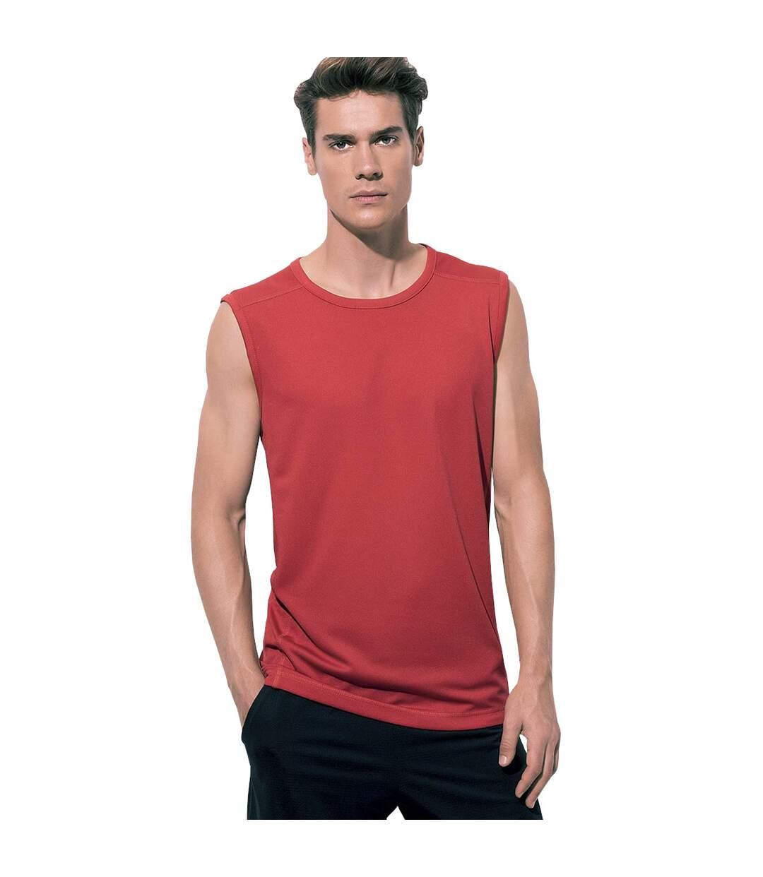 Stedman Mens Active 140 Sleeveless Tee (Crimson Red) - UTAB345