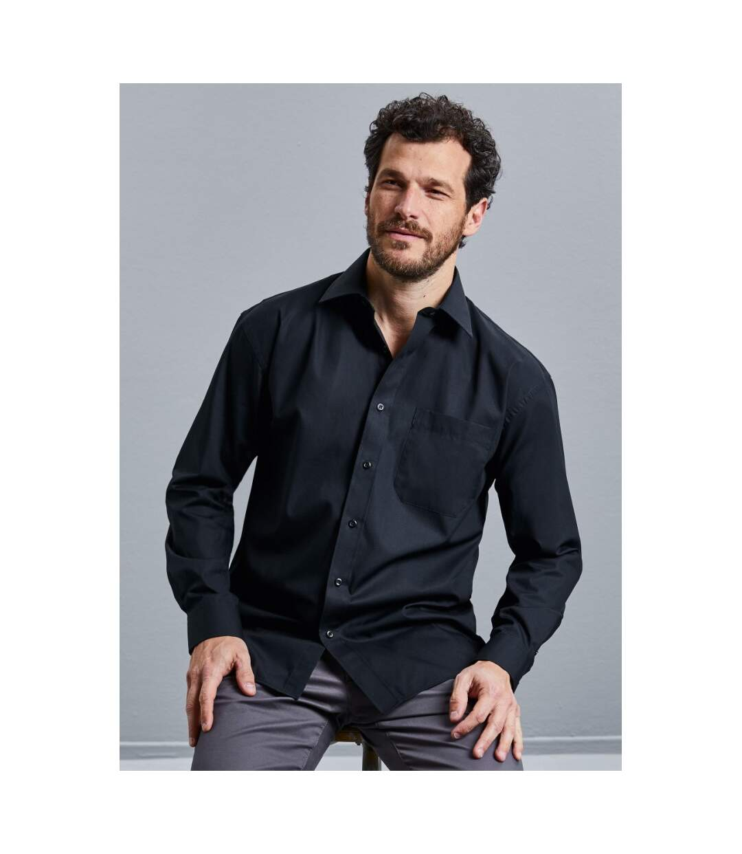 Russell Mens Long Sleeve Pure Cotton Work Shirt (Black) - UTBC2735