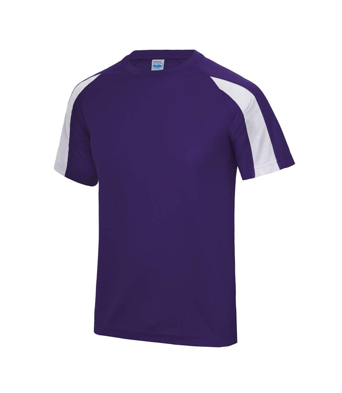 Just Cool Mens Contrast Cool Sports Plain T-Shirt (Purple/Arctic White) - UTRW685