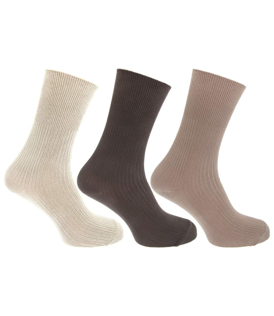 Mens Casual Non Elastic Bamboo Viscose Socks (Pack Of 3) (Cream/Brown/Beige) - UTMB376