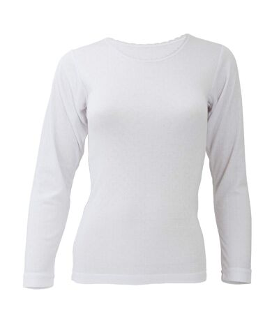 FLOSO Ladies/Womens Thermal Underwear Long Sleeve T-Shirt/Top (Standard Range) (White) - UTTHERM129