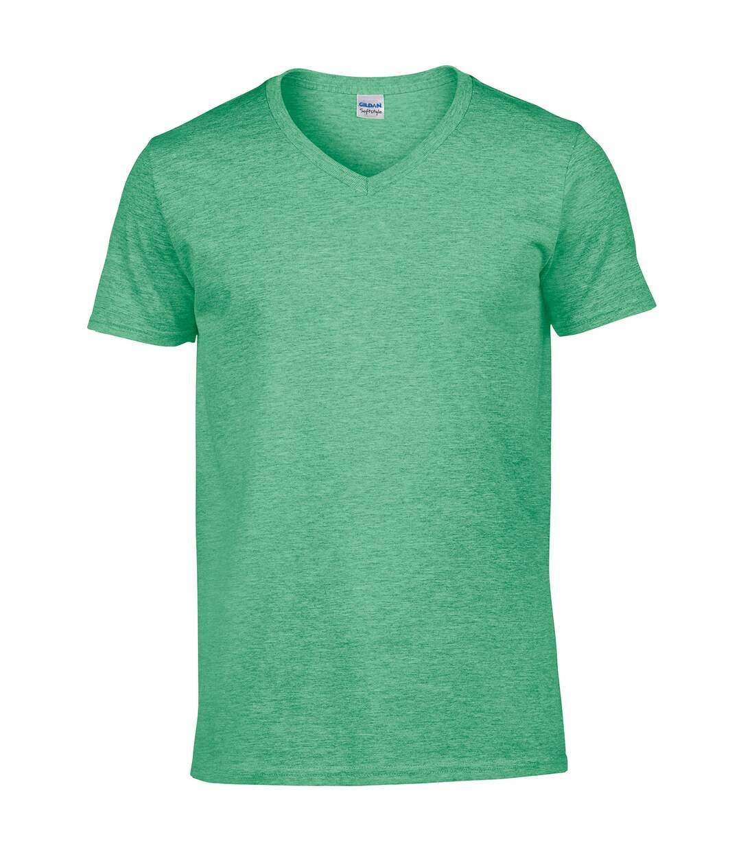 Gildan Mens Soft Style V-Neck Short Sleeve T-Shirt (Heather Irish Green) - UTBC490
