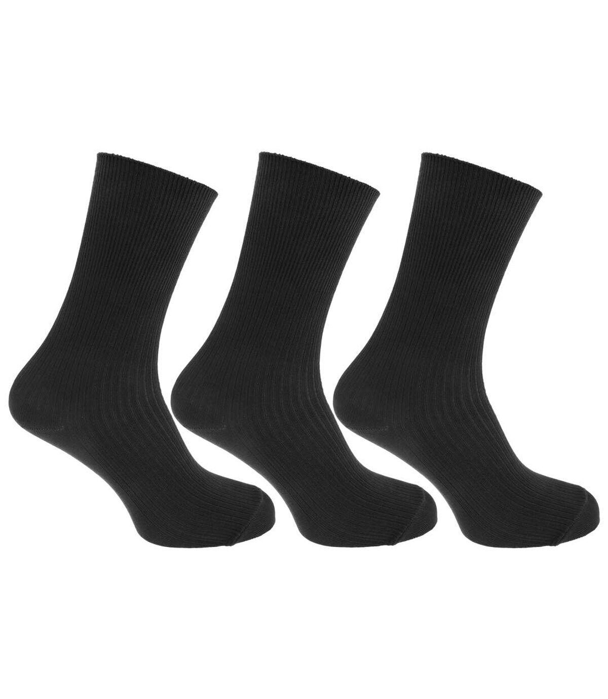 Mens Casual Non Elastic Bamboo Viscose Socks (Pack Of 3) (Black) - UTMB376