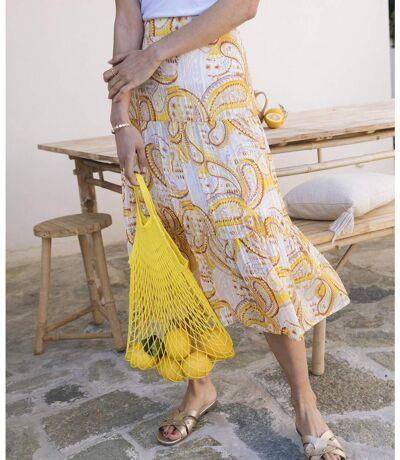 Jupe en voile imprimé jaune femme