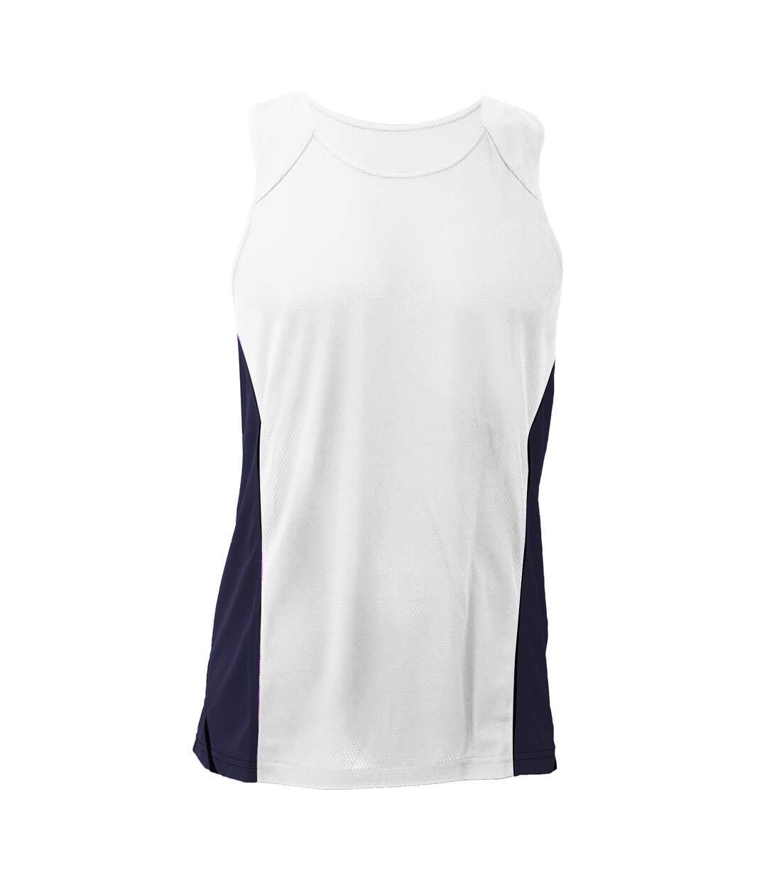 Gamegear® Mens Cooltex® Sports Sleevless Vest Top / Mens Sportswear (White/Navy) - UTBC433