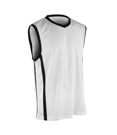 Spiro Mens Basketball Quick Dry Sleeveless Top (White / Black) - UTRW4778
