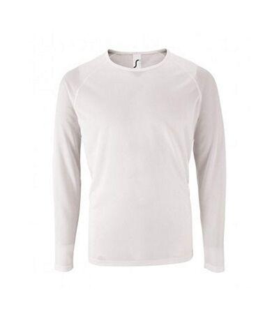 SOLS Mens Sporty Long Sleeve Performance T-Shirt (White) - UTPC2903