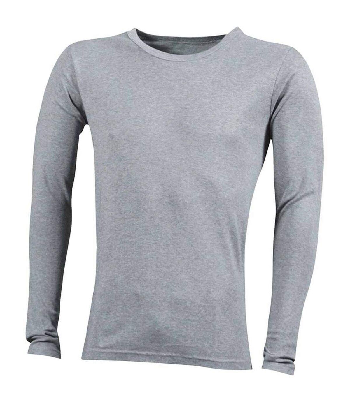 T-shirt homme manches longues - JN916 - gris chiné - coton extensible