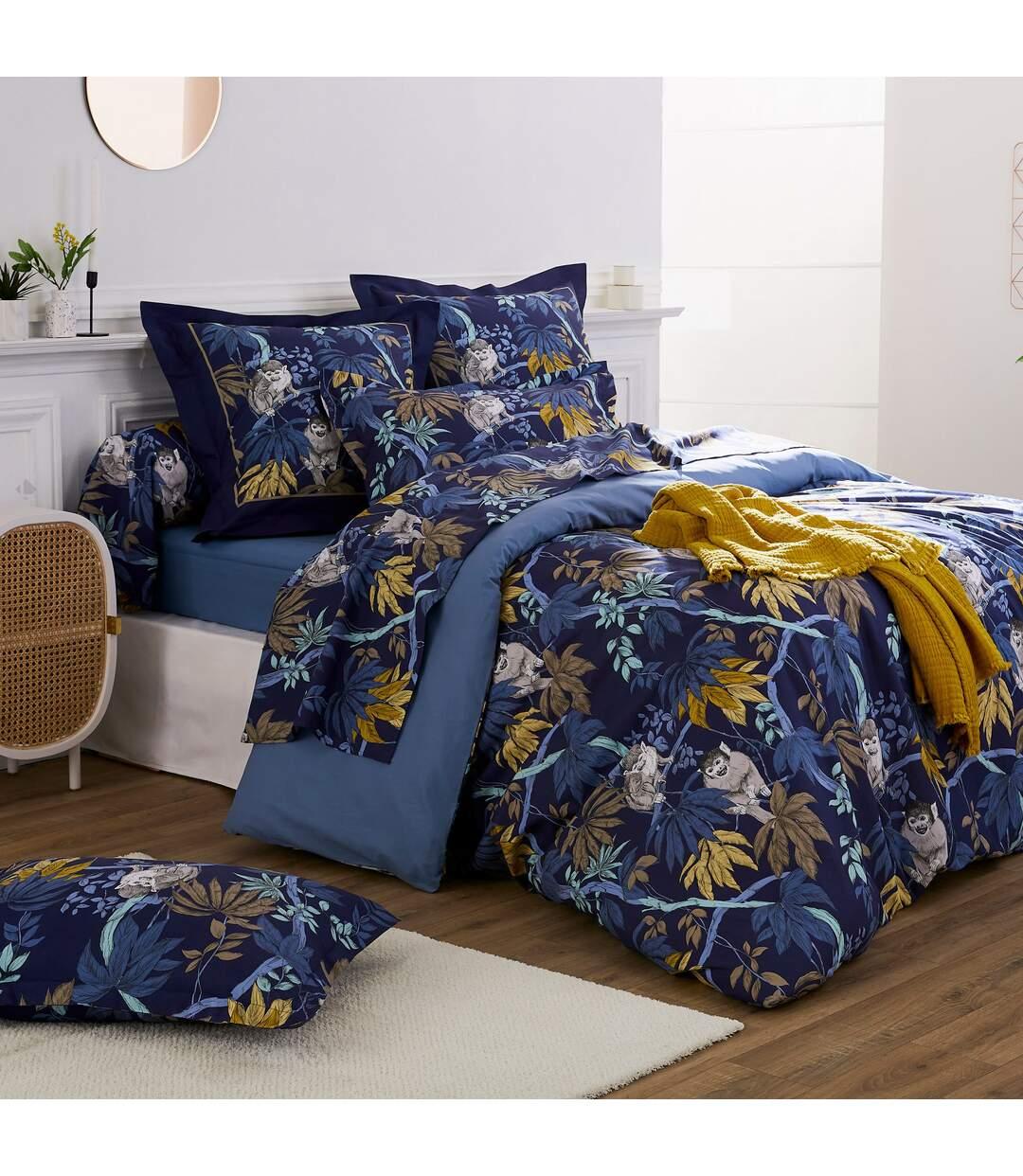 Parure de lit 260x240 cm 100% coton CAPUCIN bleu Nuit 3 pièces avec impression fixé-lavé