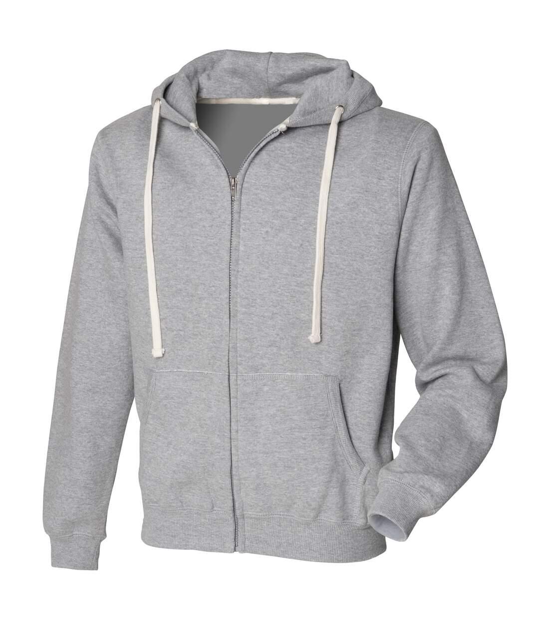 Front Row Mens Zip Through Hooded Sweatshirt / Hoodie (Black) - UTRW506