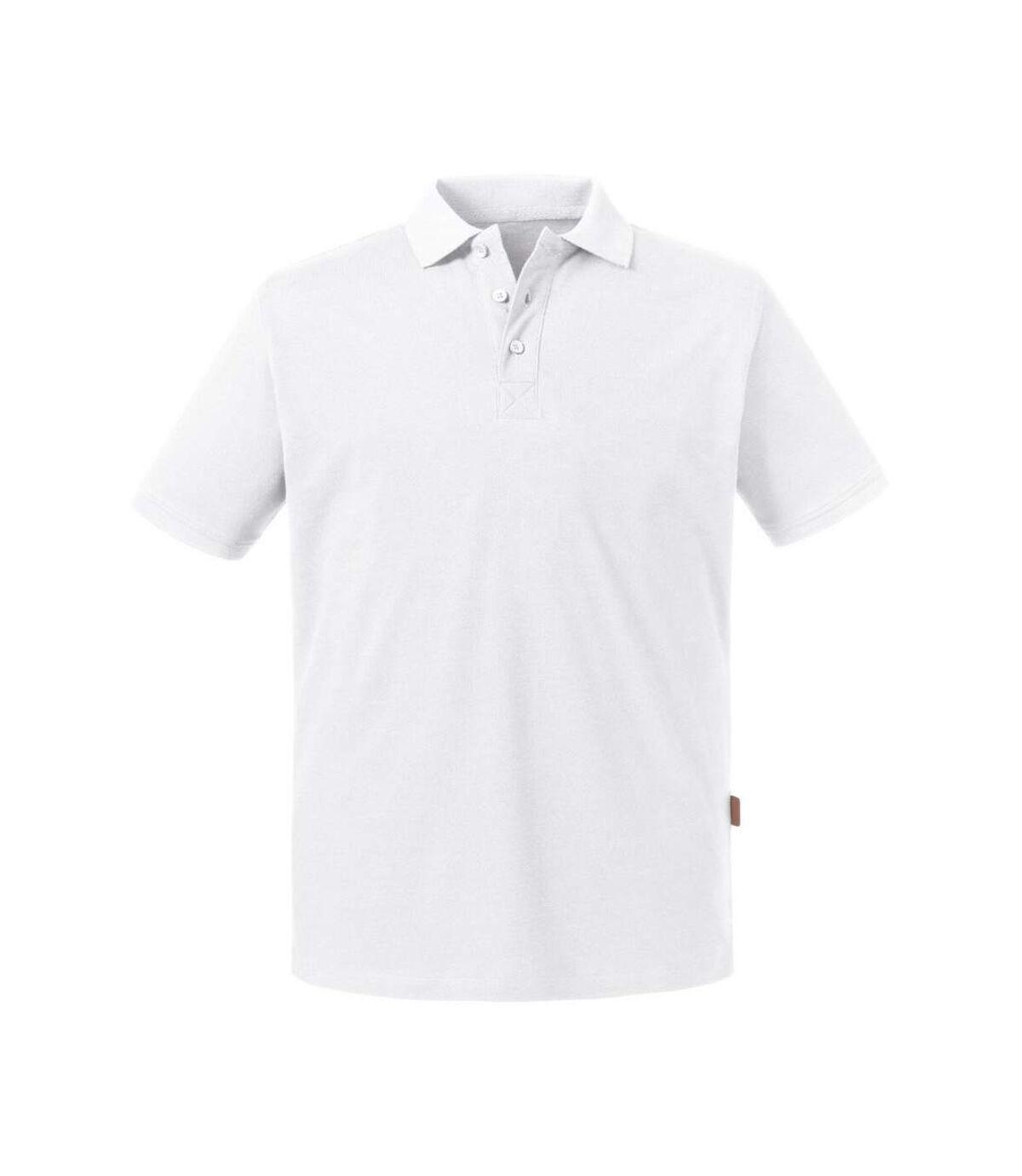 Russell Mens Pure Organic Polo (White) - UTBC4664